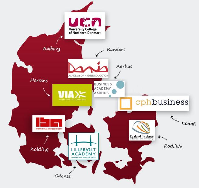 Mapa partnerských univerzit v Dánsku