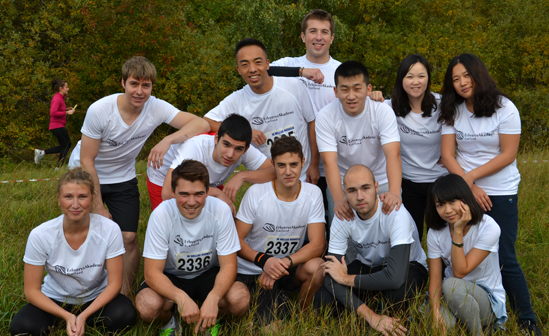 12 ZIBAT students in a cross country relay